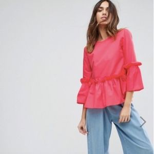 ASOS Ruffle Smock Top Pink (Fits Small 6 or 4)